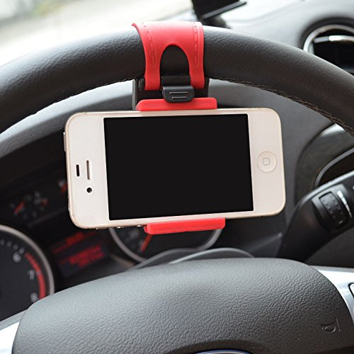 Car Mount, Costech Steering Wheel Stand GPS Rubber Band Holder for iPhone 6,6s,6plus,5s,Samsung Galaxy S6,S5,Note 5,4,3,Other Not More Than 5.5 Inch Moblie Phone (Red)