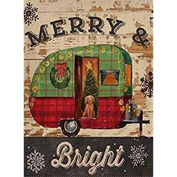 Selmad Home Decorative Merry Bright Christmas Garden Flag Plaid Trailer Double Sided, Rustic Xmas Quote House Yard Flag Camper Dog, Winter Holiday Yard Decorations, Seasonal Outdoor Flag 12 x 18