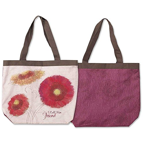 I Call Him Friend Flower Blossom Berry and Chocolate Canvas Large Tote with Shoulder Straps