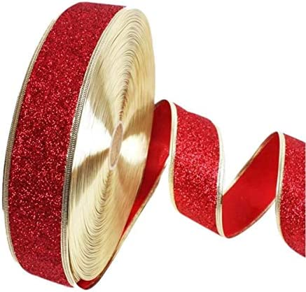 Healifty 6個のクリスマスクラフトリボンキラキラギフト包装リボンロールDIYクリスマスウェディングパーティーデコレーション2M
