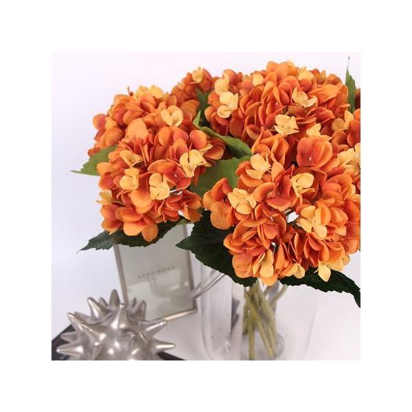 Gentille G Home Collection Luxury Silk Hydrangea Stem in Orange 18″ Tall (1)