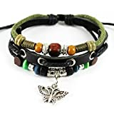 MORE FUN Green Braided Cord with Vintage Alloy Butterfly Pendant Wood Beads Leather Bracelet