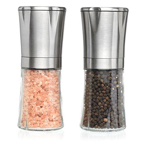 Salt and Pepper Shakers - Salt n Pepper Grinder Set, Adjustable Grind Coarseness, Premium Brushed Stainless Steel Pentagonal Top Design, Great Christmas Mother's Day Gift Idea (S&P Pentagonal)