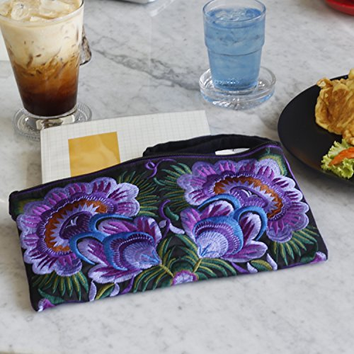 Boho Jai Sabai Handmade Flower Purse Purple Clutch Floral Embroidered Wristlet Ethnic xtqqd7O