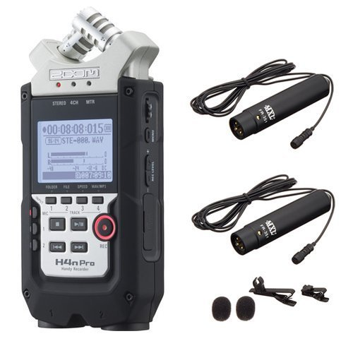 Zoom H4n PRO 4-Channel Handy Recorder Bundle with MXL FR-355K Lavalier Interview Microphone Kit (Zoom H4n Recorder)