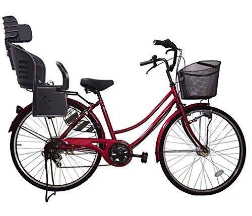 Lupinusルピナス 自転車 26インチ LP-266UA-KNRJ-BK 軽快車 シマノ外装6段ギア オートライト 樹脂製後子乗せブラック B073LHFBMD ワインレッド ワインレッド