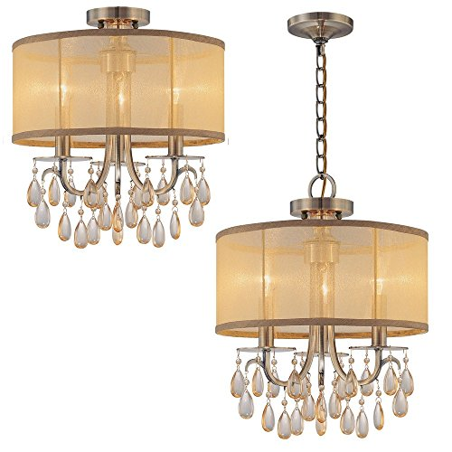 Crystorama 5623-CH Crystal Accents Three Light Mini Chandeliers from Hampton collection in Chrome, Pol. Nckl.finish, ()
