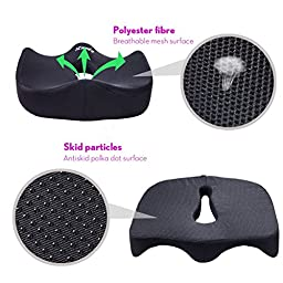 iCoudy Memory Foam Seat Cushion, Seat Cushion, Car Seat Cushion, Chair Cushion, Sciatica Cushion, Prostate Cushion, Low Back Pain Cushion (With a carry bag)
