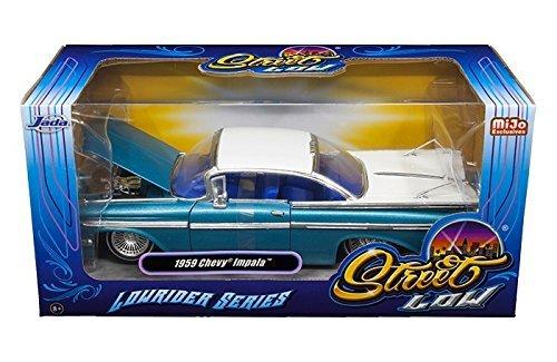 (1959 Chevrolet Impala Blue & White Lowrider 1/24 Diecast Car Model By Jada)