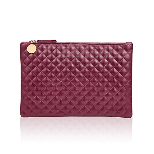 GGBAZZARA Quilted Diamond Pattern Handbag Purse Large Wristlet Phone Clutch (red)