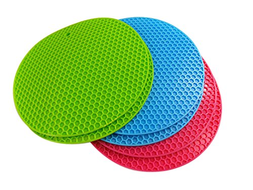 2016 Rhumen Premium Value Set of 6 Silicone Trivets / Pot Holder / Coaster / Placemat/ with Free Ebook Gift 50 Famous Cupcake Recipes