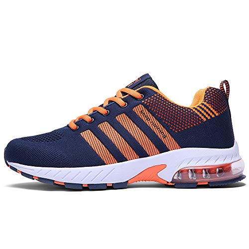 Ahico Running Shoes Men - Air Cushion Mens Tennis Shoe Lightweight Fashion Walking Sneakers Breathable Men's Athletic Training Sport Orange Size 8