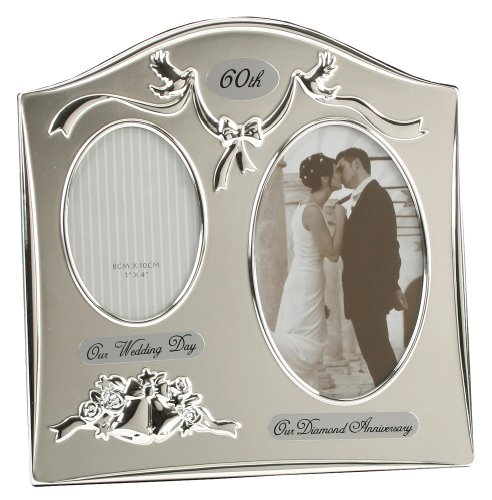 Two Tone Silver Plated 60th Diamond Anniversary Double Picture Frame By Haysom Interiors