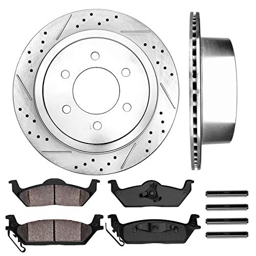 Dust Disc Brake Pad Axle - Callahan CDS02041 REAR 348 mm Premium D/S 6 Lug [2] Brake Disc Rotors + [4] Ceramic Brake Pads + Hardware