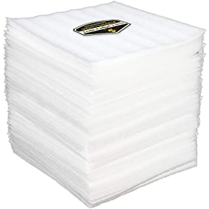 """100 Pack of Mighty Gadget (R) 12"""" X 12"""" Foam Wrap Sheets, Safely Wrap Dishes, China, and Furniture, Foam Wraps Cushioning for Moving Storage Packing and Shipping Supplies, 100-Pack (White)"""