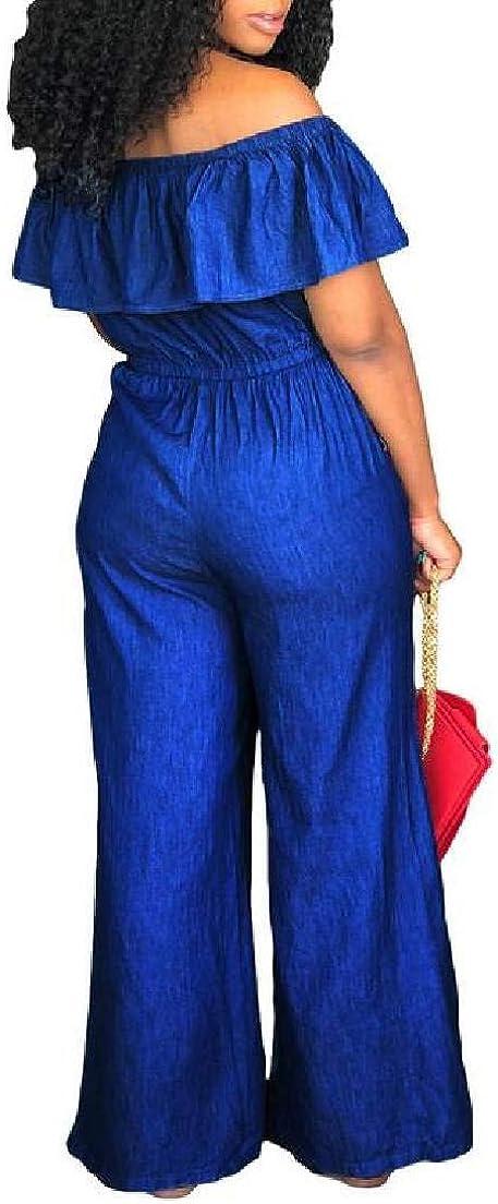 KLJR Women Loose Denim Jumpsuits Off The Shoulder Ruffle Jumpsuit Romper