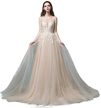 048f084685b8 Sleeveless Lace Wedding Dress A-line Long Bridal Gown Elegant Bride Wear  Champagne with Ivory