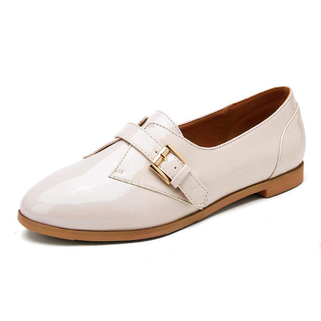 HWF Chaussures printemps femme Beige Chaussures en cuir de printemps femmes féminin britannique style plat pointé chaussures simples College Casual femmes chaussures ( Couleur : Beige , taille : 35 ) Beige f18714a - boatplans.space