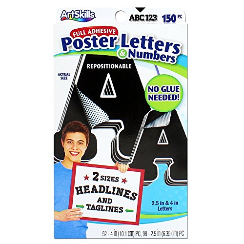 ArtSkills Paper Poster Letters and Number Stickers for Projects and Crafts, 4″ and 2.5″, Black, 150 Pieces