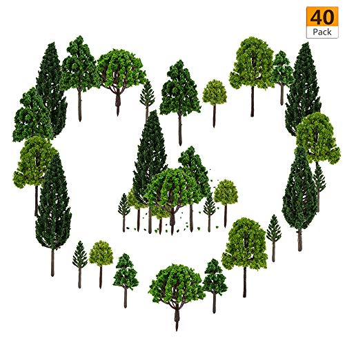 40 Pieces Model Trees -1.57-5.90 inch Mixed Model Tree Train Trees Architecture Diorama Ho Scale Model Trees for DIY Crafts or Building Model (Natural Green)