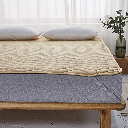 洗える 敷きパッド 綿100% 丸洗いOK ベッドパッド 四隅ズレ防止ゴムバンド付き ベッドシーツ (クイーン・160X200cm, ベージュ・敷きパッド)