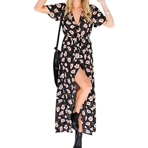d87f21c8d035 Elegantes Maxikleid Lose Kleid Beachwear Boho Blumendruck Abendkleider  Lange Partykleider Tiefer V-Ausschnitt Cocktailkleid Schwarzes