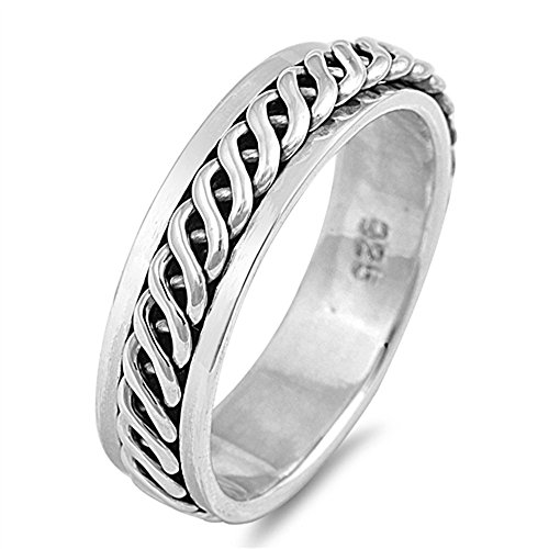 Sterling Silver Celtic Design Spinner Ring ( Size 7 to 13) Size 8