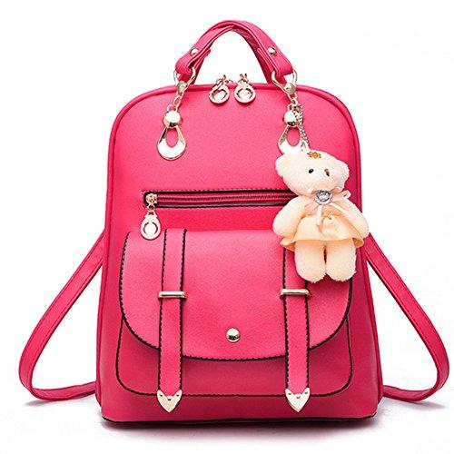 Backpack Casual Rose Women's Red Bags Ladies Rucksack Travel Shoulder Zipper Leather School PU Handbag Bag Closure TddAqn