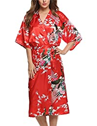 Avidlove Women's Robes Peacock and Blossoms Kimono Silk Nightwear Long Style