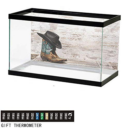- wwwhsl Aquarium Background,Western,Traditional Rodeo Cowboy Hat and Cowgirl Boots Retro Grunge Background Art Photo,Brown Black Fish Tank Backdrop 36