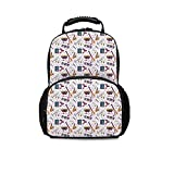 Music Leisure School Bag,Instruments Drums Speakers Keyboard Headphones Records Blues Music is My Life Theme Decorative for School Travel,One_Size