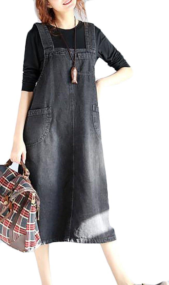 Fulok Womens Autumn Rugged Plus Size Bib Sleeveless Denim Overall Dress