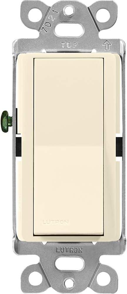 Lutron Claro On/Off Switch, 15 Amp, 3-Way, CA-3PS-AL, Almond