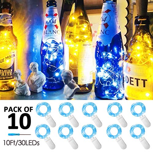 10 Pack Fairy Lights Battery Operated String Lights with 30 Micro LEDs on 10feet/3m Silver Copper Wire Starry String Light for DIY Party Christmas Costume Wedding Easter Table Decorations(Blue)
