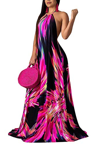 (Women's Floral Print Sleeveless Long Maxi Swing Casual Long Maxi Dresses Red Medium)