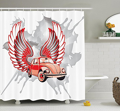 [Cars Decor Collection Hippie Dated Beetle Car with Wings Once Sixties Freedom and Revolution Symbol Icon Boho Print Polyester Fabric Bathroom Shower Curtain Red] (Beetle Wings Costume)
