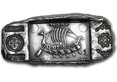 ''Viking Longship'' .999 Solid 1 oz. Hand-Poured Relic Bar by MADE IN THE USA