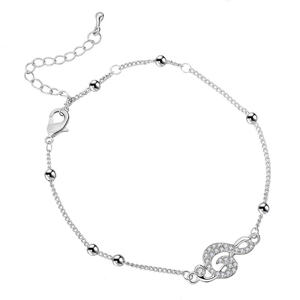YOYOMA Ankle Bracelet for Women, Charm Pendant Anklets Girls Kids Gold Silver Bracelet with CZ Crystal Gold-Plated-Copper) JL02