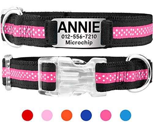 Taglory Personalized Dog Collar,Custom Dog Collar with Nameplate,Dog ID Collars for Small Medium & Large,Pink & Black