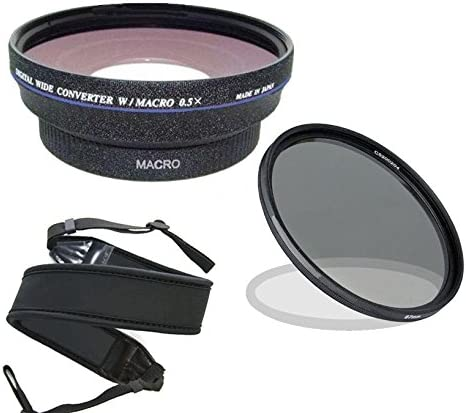 Stepping Ring 43-52 Wide Neoprene Strap. 67mm Circular Polarizing Filter Canon VIXIA HF R72 0.44x Wide Angle Lens with Macro High Definition