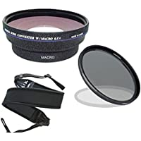 Canon VIXIA HF R600 (High Definition) 0.5x Wide Angle Lens With Macro + 67mm Circular Polarizing Filter + Stepping Ring 43-52 + Wide Neoprene Strap.