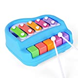 Toykart 2 in 1 Mini Musical Xylophone and Mini Piano, Non Toxic, Non-battery, Xylophone for kids