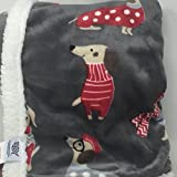 Humane Society Colorful Dogs in Scarves and Sweaters Reversible (to Dots) Pet Dog Blanket - Sherpa Edged