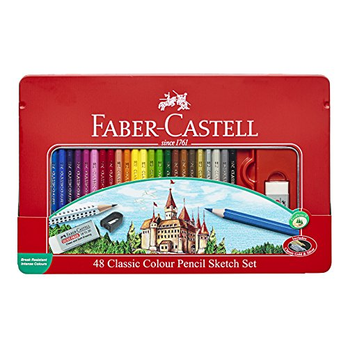 Pencil Tin Set - Creativity for Kids Faber Castell Classic Colored Pencils Tin Set, 48 Vibrant Colors in Sturdy Metal Case - Premium Children's Art Products