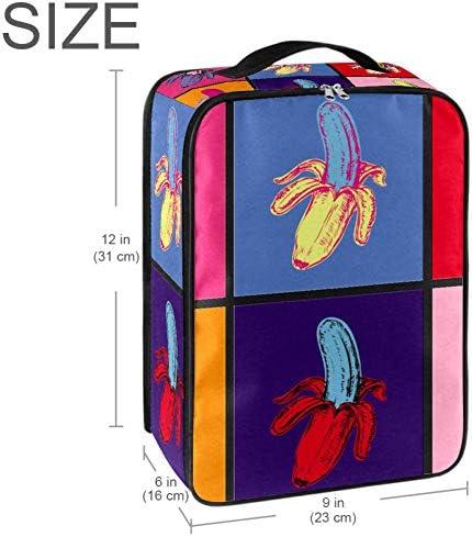 MYSTAGE シューズバッグ 靴箱 ポップアート バナナ シューズケース シューズ袋 旅行収納ポーチ 二層式 靴入れ 小物収納 収納ケース アウドドア 出張 旅行