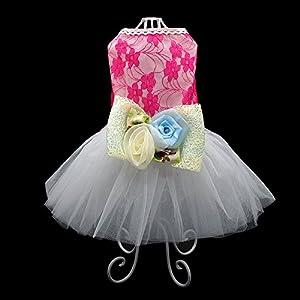 Beirui Elegant Lace Pet Clothes for Dog Dress Princess Wedding Apparel Shirts Bowknot, Pink,M