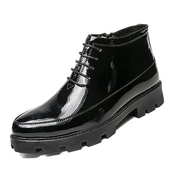 YAN Zapatos para Hombre 2019 Martin Botas Cordones Botines de Vestir en Punta Zapatos de Boda y Noche Zapatos Formales Negros: Amazon.es: Deportes y aire ...