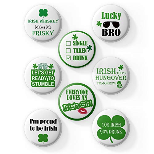 AVOIN 8 Count Large St Patricks Day Irish Pins | Funny Decorative Buttons Badges with Irish Sayings Shamrock for Your Party, Parade or Celebration | Lucky Charm Great for Hats -