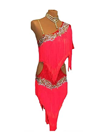6447553ff Amazon.com: Latin Dress for Women Sexy Single Shoulder Tassels ...
