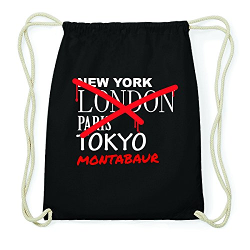 JOllify MONTABAUR Hipster Turnbeutel Tasche Rucksack aus Baumwolle - Farbe: schwarz Design: Grafitti